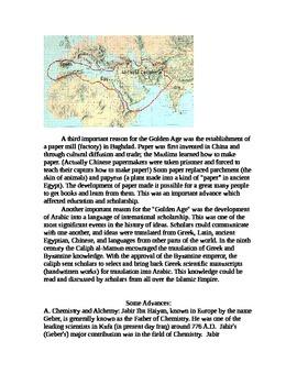 World History/Islamic Advancements in Science/Islamic Empire Reading/CC Analysis