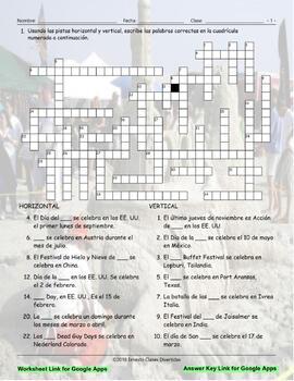 World-Holidays and Festivals Interactive Spanish Crossword-Google Apps