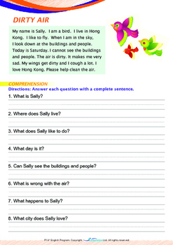 World Issues - Air Pollution (II) - Grade 1 ('Triple-Track Writing Lines')
