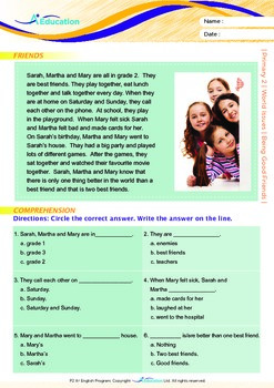 World Issues - Being Good Friends - Grade 2