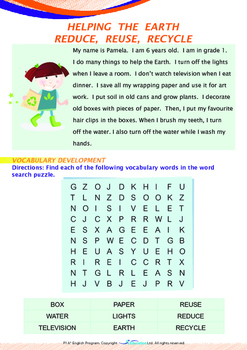 World Issues - Reduce Reuse Recycle (I) - Grade 1 ('Triple-Track Writing Lines')