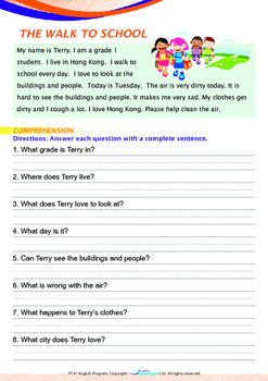 World Issues - The Walk to School - Grade 1 ('Triple-Track Writing Lines')