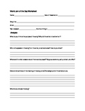 World Jam of the Day worksheet