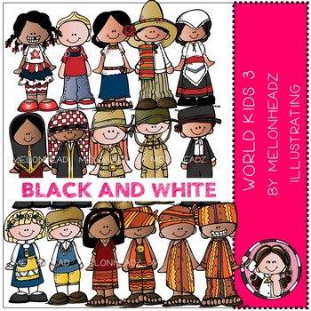 World Kids 3 clip art - BLACK AND WHITE- by Melonheadz