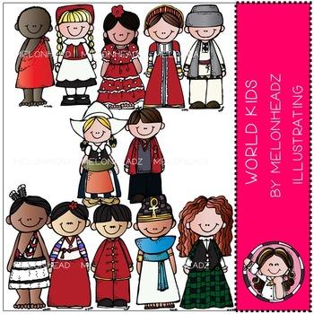 World Kids clip art - COMBO PACK- by Melonheadz