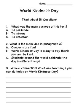 World Kindness Day Passage
