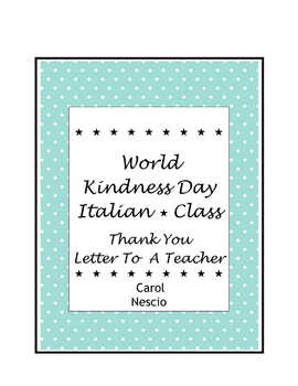 World Kindness Day ~ il 13 novembre ~ Thank You Letter To A Teacher