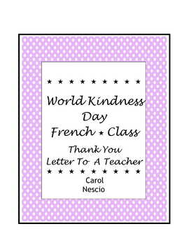 World Kindness Day ~ le 13 novembre ~ Thank You Letter To A Teacher