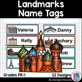 World Landmark Name Tags - Editable