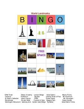 World Landmarks Bingo for Two Players