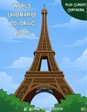 World Landmarks Coloring Book with Cursive Coypwork