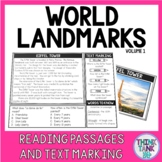 World Landmarks Reading Comprehension and Text Marking - Informational Text