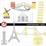 World Landmarks (Set 01) Clipart by Poppydreamz