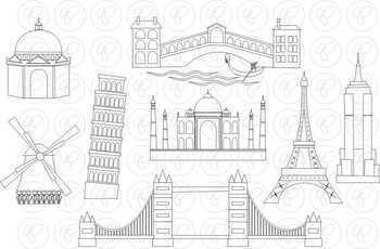 World Landmarks (Set 01) Clipart by Poppydreamz