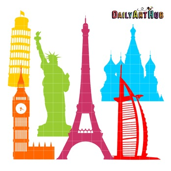 World Landmarks Silhouettes Art Clip Art - Great for Art Class Projects!