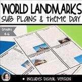 Sub Plans or Theme Day: World Landmarks | ELA Math Social Studies