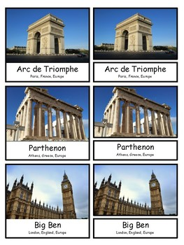 World Landmarks and Around the World  Montessori 3-part cards