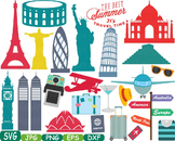 World Landmarks travel City Buildings clip art rome italy france paris svg -217s