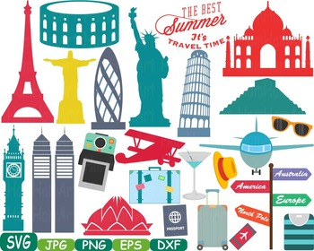 World Landmarks travel City Buildings clip art rome italy france paris svg -217s