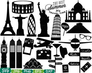 World Landmarks travel City Buildings clip art rome italy france paris svg -223s
