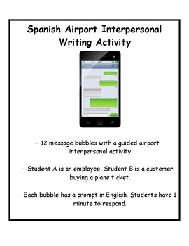 World Language Airport Role Play Interpersonal Writing Activity