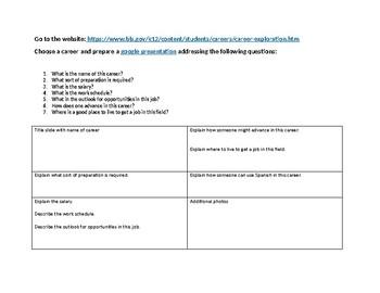 World Language Career Exploration Presentation Grid