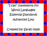 """World Language Essential Standards Advanced Low""""I Can"""" Posters French"""