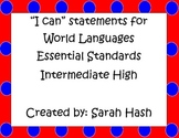 """World Language Essential Standards Intermediate High """"I Can"""" Poster French"""
