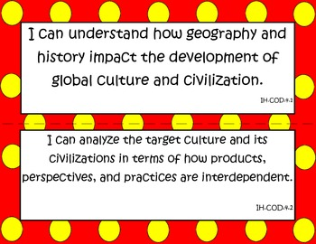 """World Language Essential Standards Intermediate High """"I Can"""" Posters Spanish"""