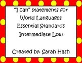 "World Language Essential Standards Intermediate Low ""I Can"" Posters Spanish"