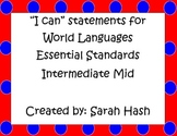 "World Language Essential Standards Intermediate Mid ""I Can"" Poster French"