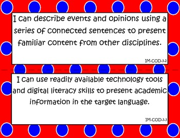 """World Language Essential Standards Intermediate Mid """"I Can"""" Poster French"""