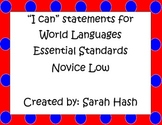 "World Language Essential Standards Novice Low ""I Can"" Statement Posters French"