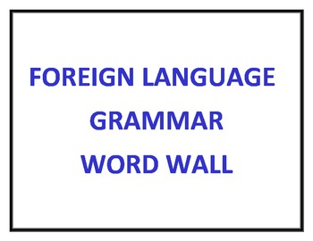 World Language Grammar Word Wall