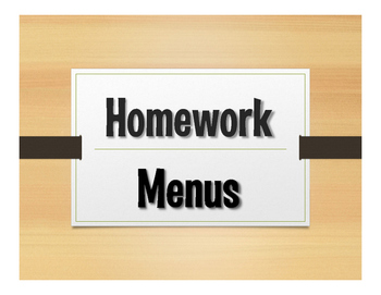 Spanish Homework Menus