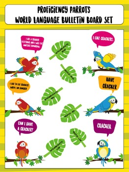 World Language Proficiency Parrots Bulletin Board Set