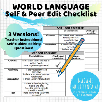 World Language Self and Peer Edit Checklist