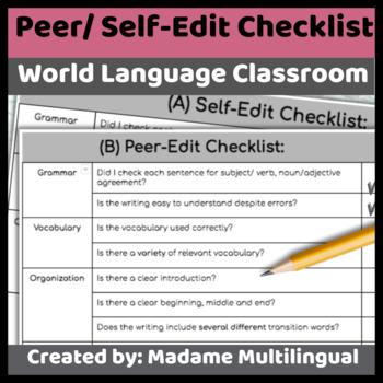 Peer Editing In Spanish Worksheets Teaching Resources TpT