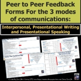 Peer to peer Feedback Form- 3 modes of communication for Spanish class