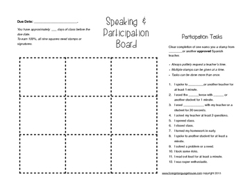 World Languages Speaking & Participation Activity Board