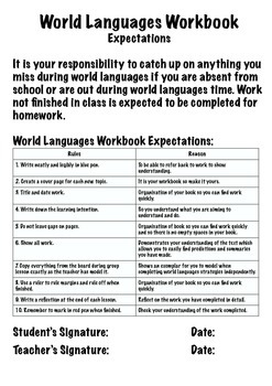 World Languages Workbook - Marking and Expectation File