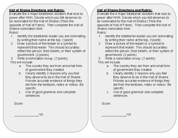 World Leader Hall of Shame Assignment with Rubric