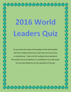 World Leaders Quiz for 2016 - Do You Know the Leaders of the World