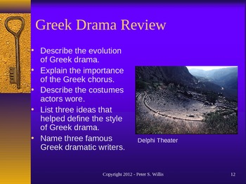 World Literature - Greek Drama Lecture Notes, Quiz, and Student Group Project