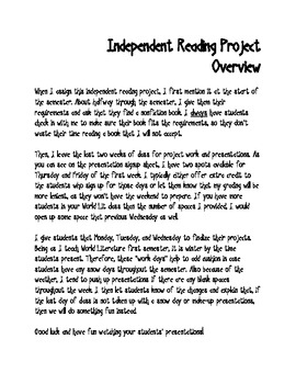 World Literature Independent Reading Project