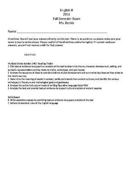 World Literature/Mythology/Epic Hero Final Exam