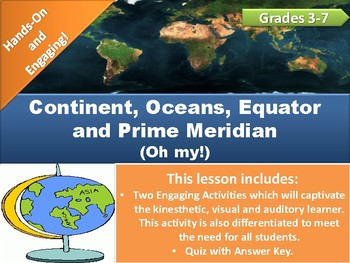 World Map Activities and Quiz!