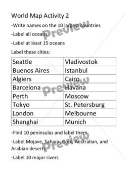 World Map Activity 2