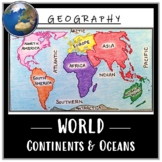 World Map Activity- Label & Color the Continents and Ocean