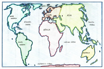 World Map: Continents and Oceans